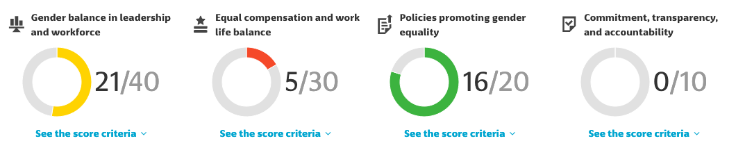 Gender Equality Funds sub-category score example